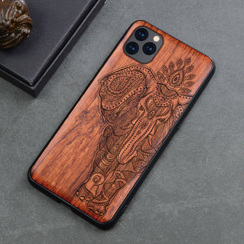 Elephant Skull Maya Pattern Carved Wood Case For iPhone 11 Pro XR XS Max Real Wood Phone Case For Samsung S20 S10 Note 10 Plus