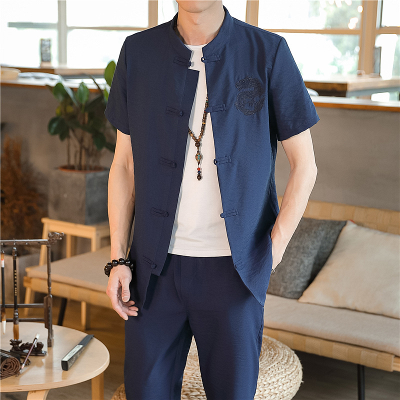 Viscose Cotton Linen Set Chinese-style Summer Men's Cotton Linen Short Sleeve Large Size Trousers Cardigan Suit Casual Chinese C