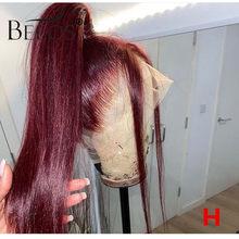 Borgonha reta 360 frente do laço perucas de cabelo humano 99j colorido 150% peruano remy cabelo preplucked com o cabelo do bebê descorados nós