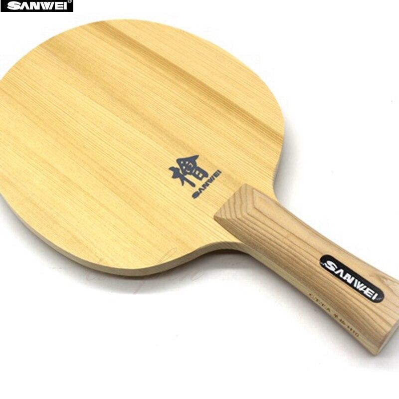 SANWEI H10 Hinoki Table Tennis Blade FL Handle CS Handle 10mm Thickness One Ply Hinoki Ping Pong Bat