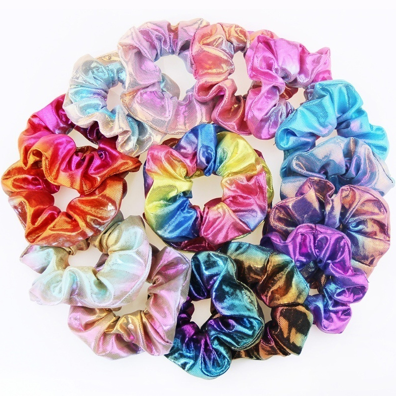 8 /1  Pieces Glitter Scrunchies Colorful ElasticHair Rope Ponytail Holder Hair Accessories for Girls and Women Ties Hair Rubber
