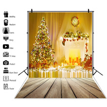 Photo Backgrounds Christmas Candle Tree Fireplace Royal Wreath Clock Wooden Board Portrait Photography Backdrops Studio