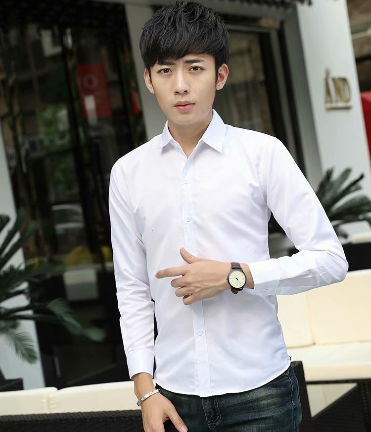 White Men Long Sleeve Solid Color Shirt Business Affairs Self-cultivation Youth Male Thin Section Luxury Stylish Casual Shirts