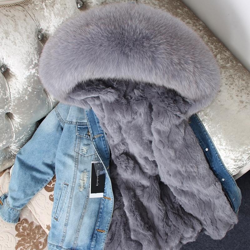 Kadın Giyim'ten Gerçek Kürk'de Doğal rakun büyük kürk yaka denim kürk ceket kaliteli tavşan kürk astarlı sıcak ceket ceket moda kadın sokak giyim'da  Grup 1