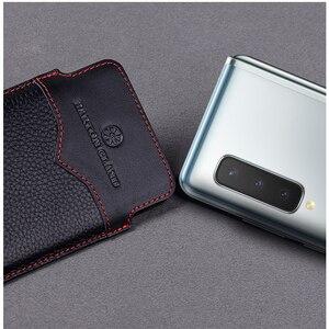 Image 2 - Pochette de conception originale pour Samsung Galaxy pli étui à la main de luxe en cuir de vache véritable sac de protection pour Samsung pli