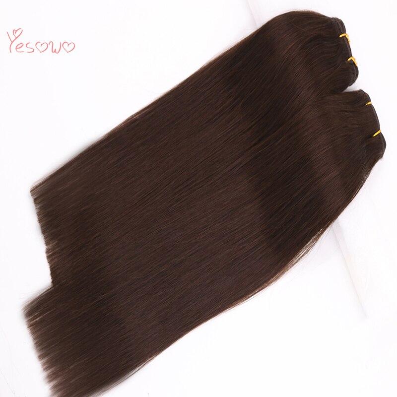 Yesowo 100g/pc 14-20 Inch Hair Bundles Straight Human Hair Weft Indian Hair Weave 2# Dark Brown Human Hair Extensions