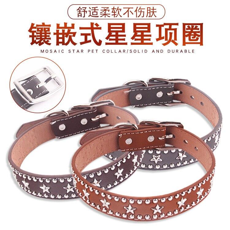 New Style Pet Collar Hide Substance Star Hand Holding Rope Collar Dog Rivet Neck Ring Medium Large Dog Supplies Adjustable