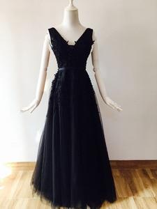 Image 5 - Vestido 웨딩 섹시 댄스 파티 드레스 민소매 자수 신부 들러리 드레스 긴 원사 메쉬 드레스 연회 웨딩 드레스 파티