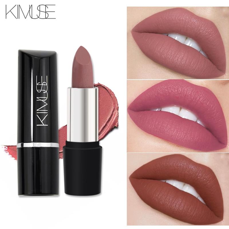 Marca KIMUSE Maquillaje lápiz labial mate de larga duración impermeable pigmento al desnudo lápiz de labios Matte batom Lip cosmeticos 10 colores