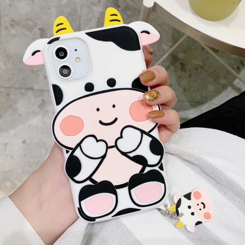 3D Cute Cartoon Milk Cow Phone Case For Iphone 12 Mini 11 Pro XS Max XR Kawaii Cattle Calf Soft Silicone Back Cover With Pendant