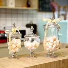 European-style Transparent Glass Candy Jar Storage Jar Sugar Bowl with Lid High-legged Window Wedding Dessert Table Decoration