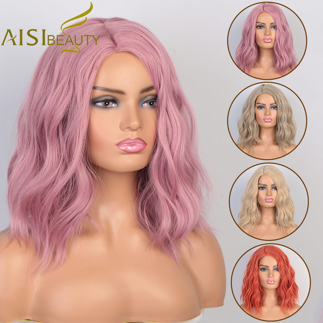 AISI BEAUTY Synthetic Short Wigs Water Wave Hair for Balck White Women Pink Blonde Partial Division Cosplay Wigs