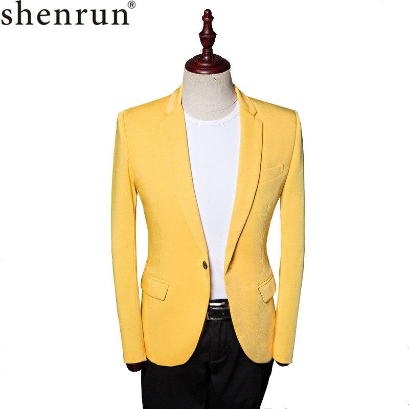 Shenrun Men Jackets Casaul Blazers Yellow Suit Jacket Fashion New Stylish Costume Stage Show Party Prom Wedding Plus Size 5XL