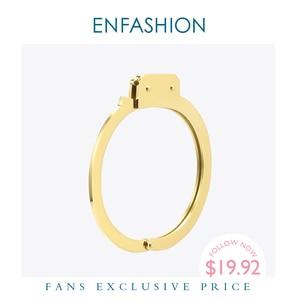 Image 1 - ENFASHION Handcuffs Cuff Bracelet Manchette Gold Color Stainless Steel Punk Bracelets Bangles For Women Fashion Jewelry B192057