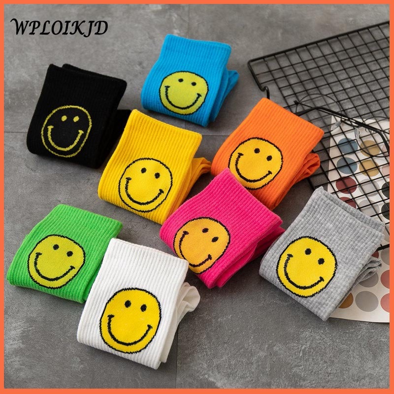 [WPLOIKJD]College Students Style 8 Color Pure Color Big Smiling Face Cute Funny Socks Sweet Combed Cotton Women Socks Skarpetki