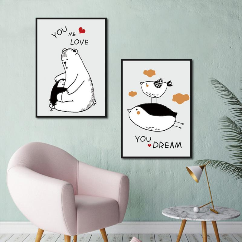 Modern Nordic Minimalist Home Decoration Wall Painting Penguin and Polar Bear Love Frameless Canvas Printing Black White Poster  - buy with discount