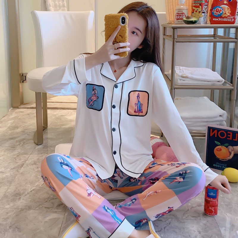 Fashion Women Wear Clothes 2020 Spring Long Sleeve Pajamas Set Elegant ladies nightwear Full Sweet Girls Sleepwear Loungewear