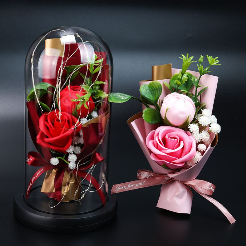 Rosa de simulación, regalo exquisito para el día de la madre, flor eterna de San Valentín, Cubo de decoración de rosa