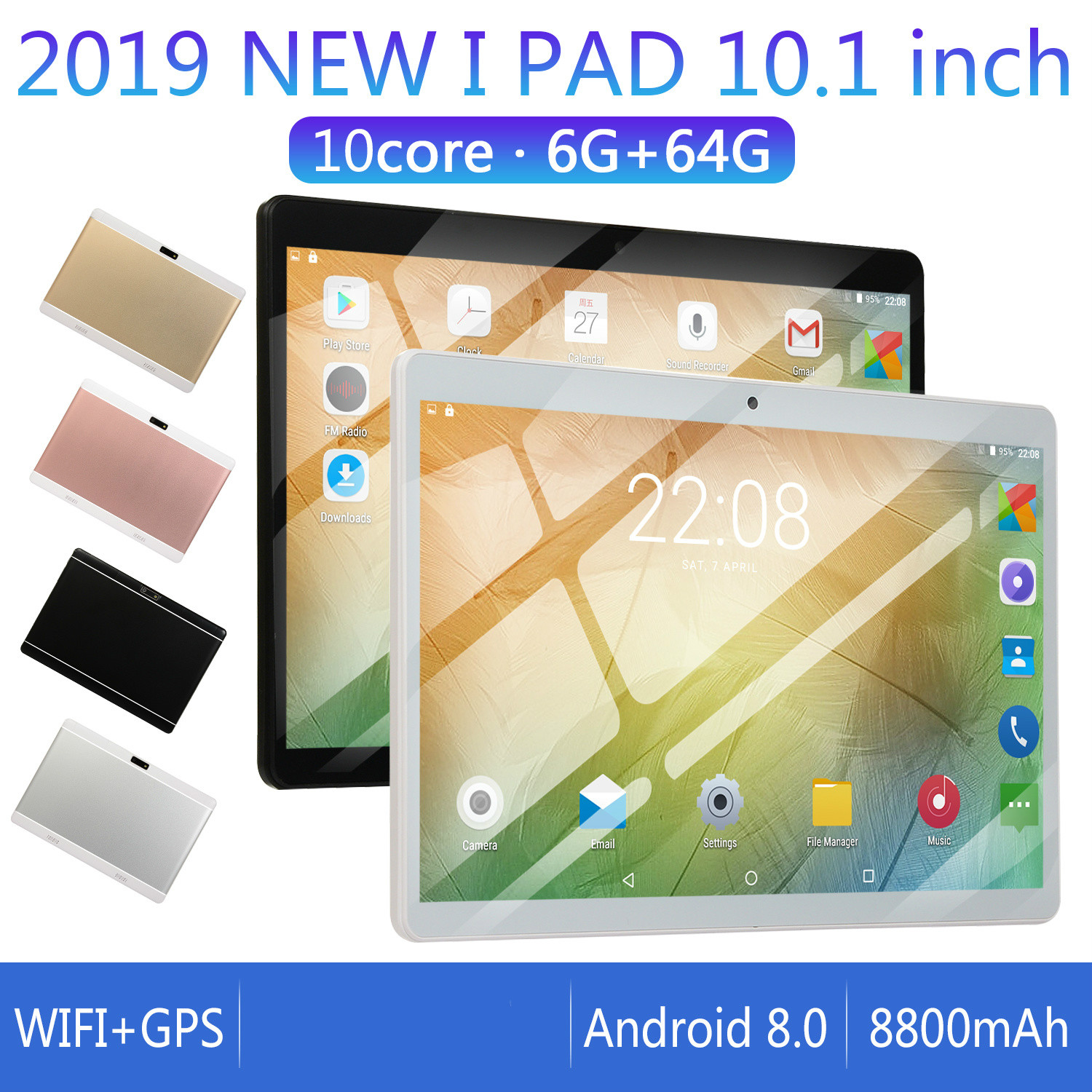 2020  6G+64G/16G For Android 8.0 WiFi Tablet PC 10 Inch 8 Core Dual SIM Bluetooth FM GPS Call Phone