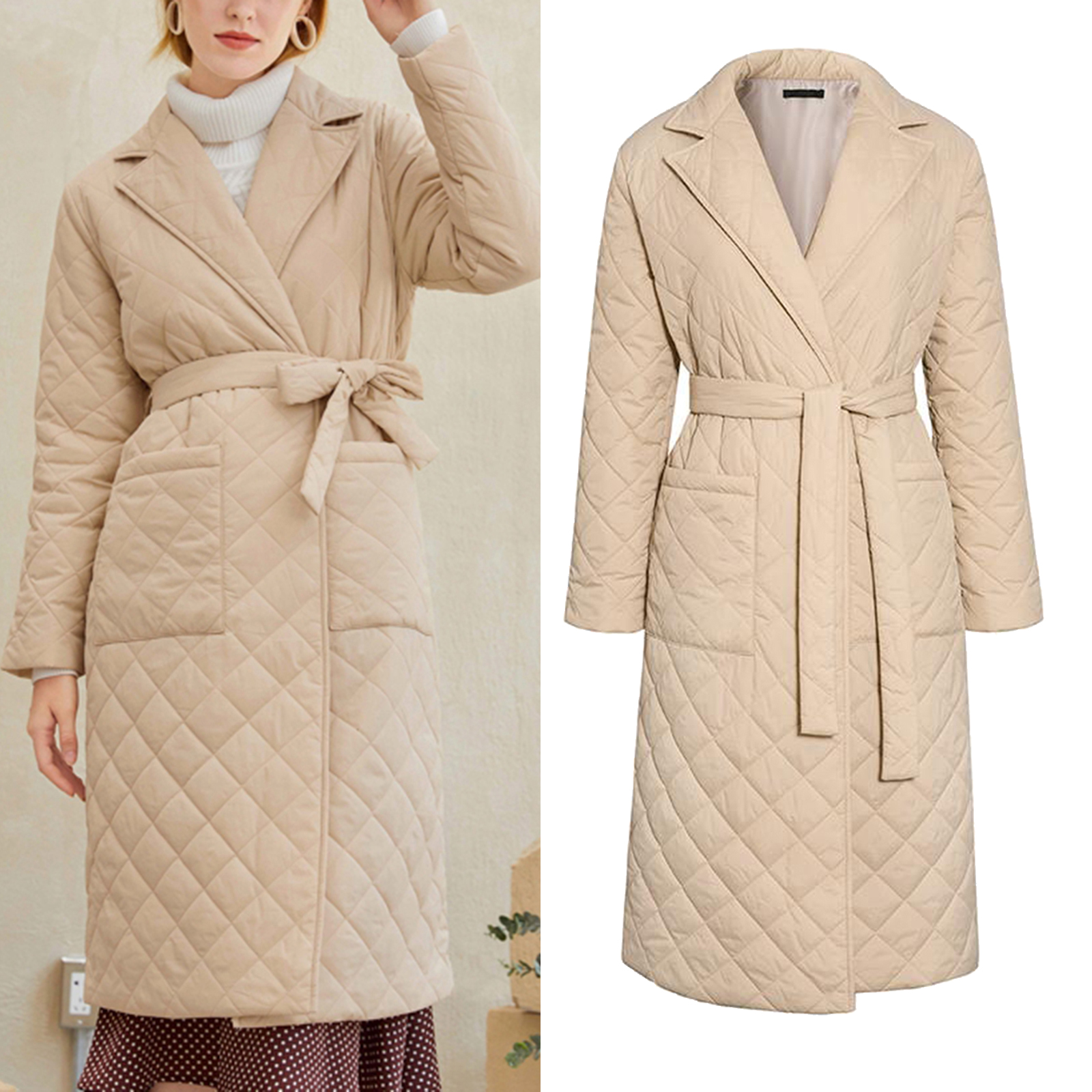 Trench Coats for Women,Autumn&Winter Lapel Faux Wool Coat Trench Jacket Long Sleeve Overcoat Outwear