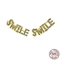 Gold Color Sterling Silver 925 Letter Smile Long Stud Earrings for Womem Punk Style Fashion Jewelry Gifts Brincos SCE764