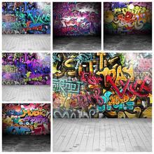 Grunge graffiti parede de tijolos photophones piso de madeira brinquedo do bebê retrato custome fotografia fundos foto backdrops photozone