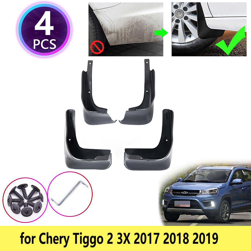 4 PCS for Chery Tiggo 2 3X 2017 2018 2019 Mudguards Mudflaps Fender Guards Splash Mud Flaps Guard Front Rear Wheel Accessories(China)