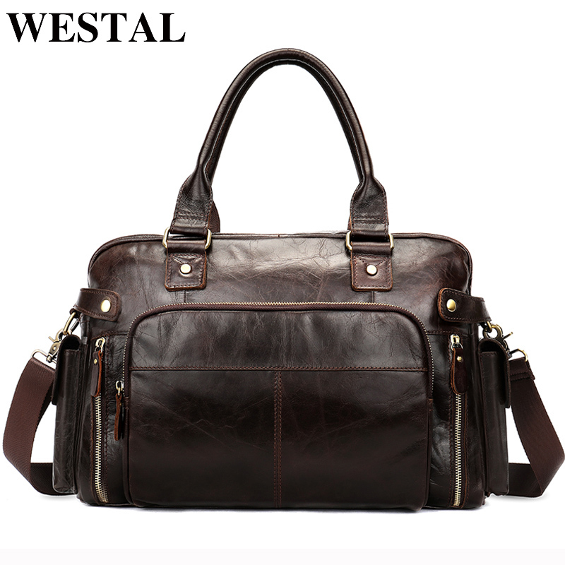 Men's Briefcases Leather Laptop Bags Men Men's Genuine Leather Office Bag Of Men's Business 14inch Document Tote Men's Bag