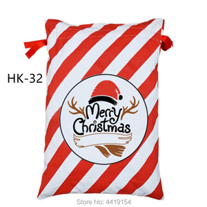 Image 4 - 50pcs/lot Large Santa Sacks Drawstring Christmas Sacks 38 Styles Christmas Canvas Sack Kids Gift Bag Candy Cane Bag Wholesale