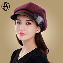 FS Autumn Wool Octagonal Cap Hats Keep Warm Winter Bucket Cap Elegant Ladies Bowler Gray Vintage Formal Woolen Fedora Felt Hats(China)