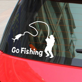 14x11cm Safty Waterproof Car Body Window Decal Sticker Wall Stickers Covers Cartoon Go Fishing Night Reflective Car Stickers image