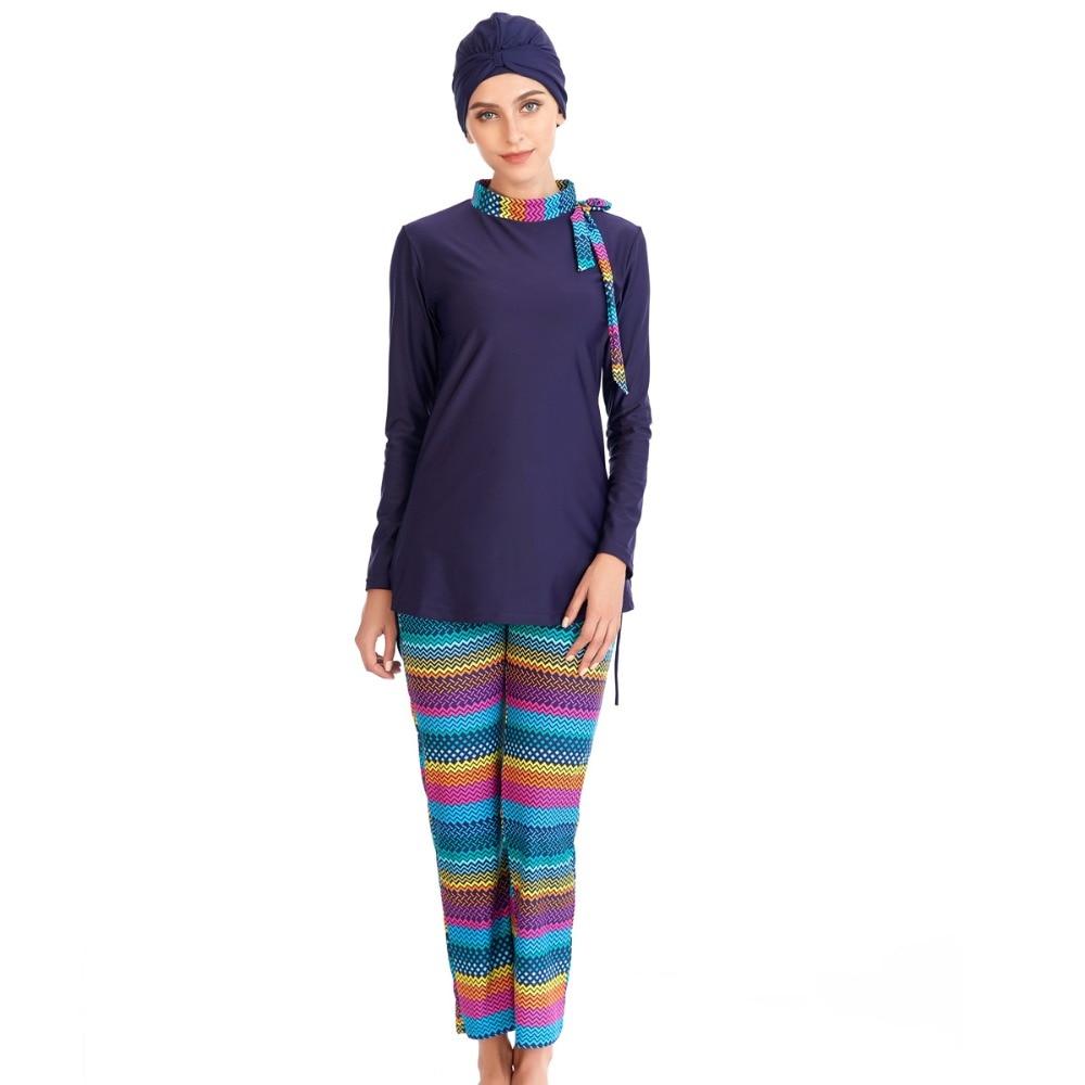 2020 Muslim Swimsuit Islamic Stripe Printing Modest Swimwear Full Cover Bearwear Long Sleeve Arab Burkinis Bathing Suit