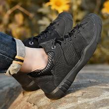 New Genuine Leather Hiking Shoes Men Winter Fur Outdoor Waterproof Trekking