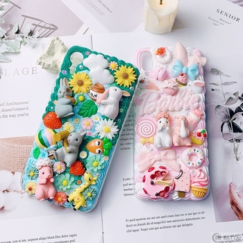 DIY case for iPhone 11 pro 3D rabbit phone cover ip XS MAX XR handmade creamy shell X/XS 7/8 plus 6/6s+ cute flower girl gift