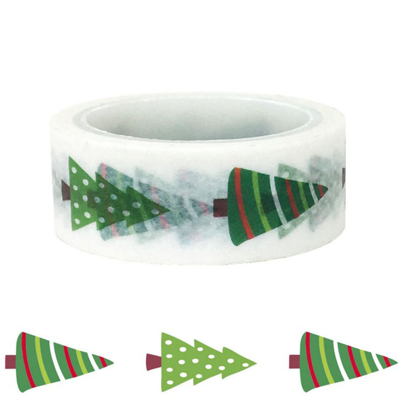 1 Pcs Kawaii Christmas Decoration Gift Accessories Green Pine Festival DIY Decoration Washi Tape Cute Stationery Tape