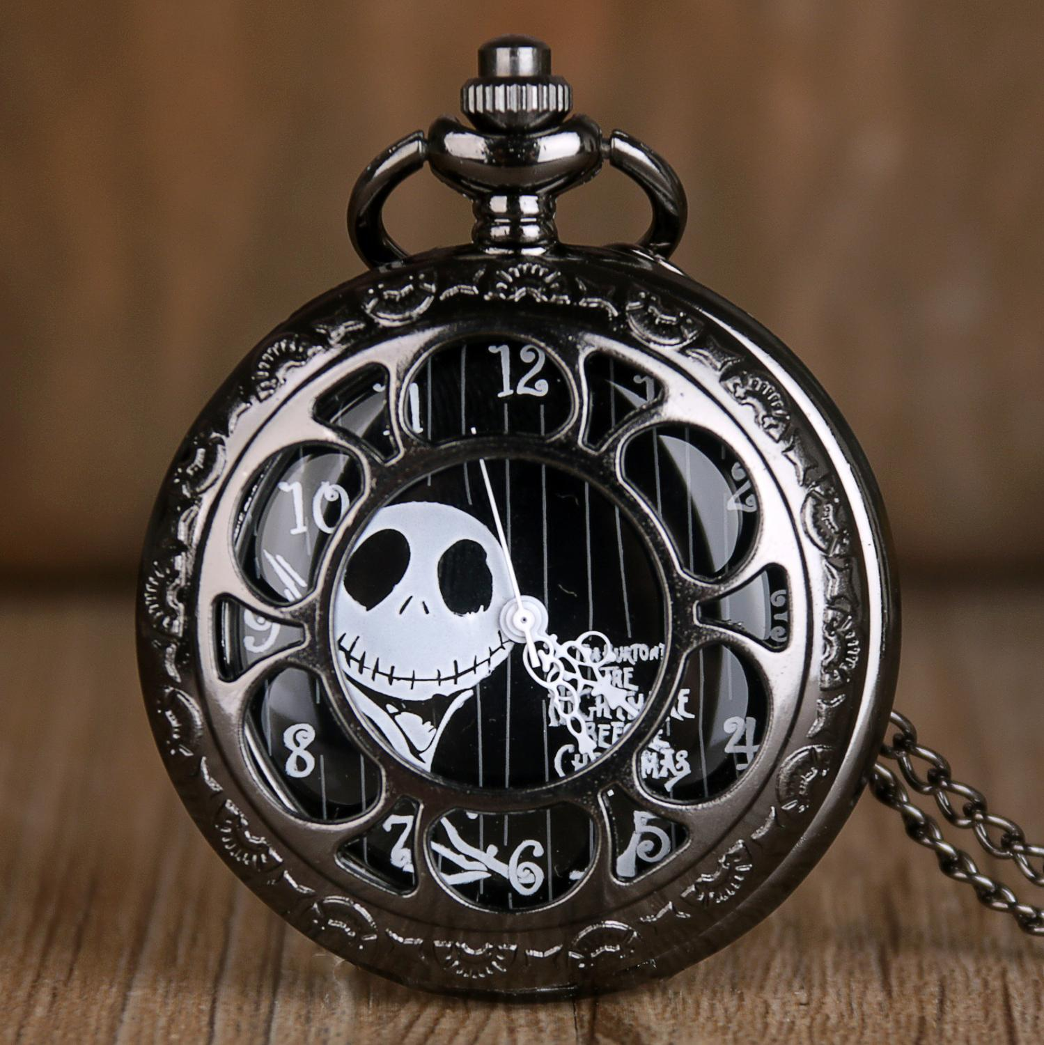 Black Steampunk Pocket Watches Tim Burtons Nightmare Before Christmas Flower Case Hollow Quartz Pocket Watches For Mens Womens