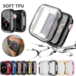 Full cover for Apple Watch series 5 4 3 2 matte Plastic bumper hard frame case with glass film for iWatch screen protector(China)