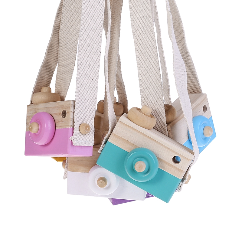 Wooden Toy Camera Kids Creative Neck Hanging Rope Toys Photography Prop Gift