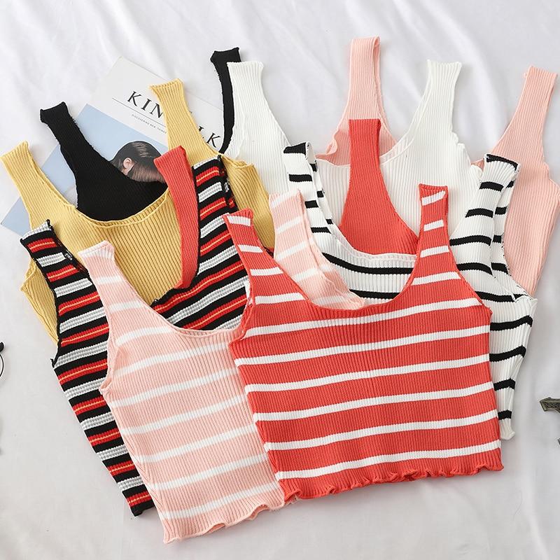 HELIAR Striped Tank Tops Women Camisole Knitting Vest Crop Top Sexy Camisole Femme Plain Camis Women 2020 Summer Tank Tops