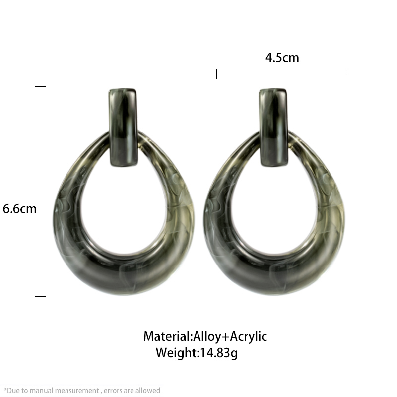 Vintage Black Acrylic Earrings 2020 Fashion Korean Geometric Statement Earrings Crystal Resin Drop Earring for Women Jewelry