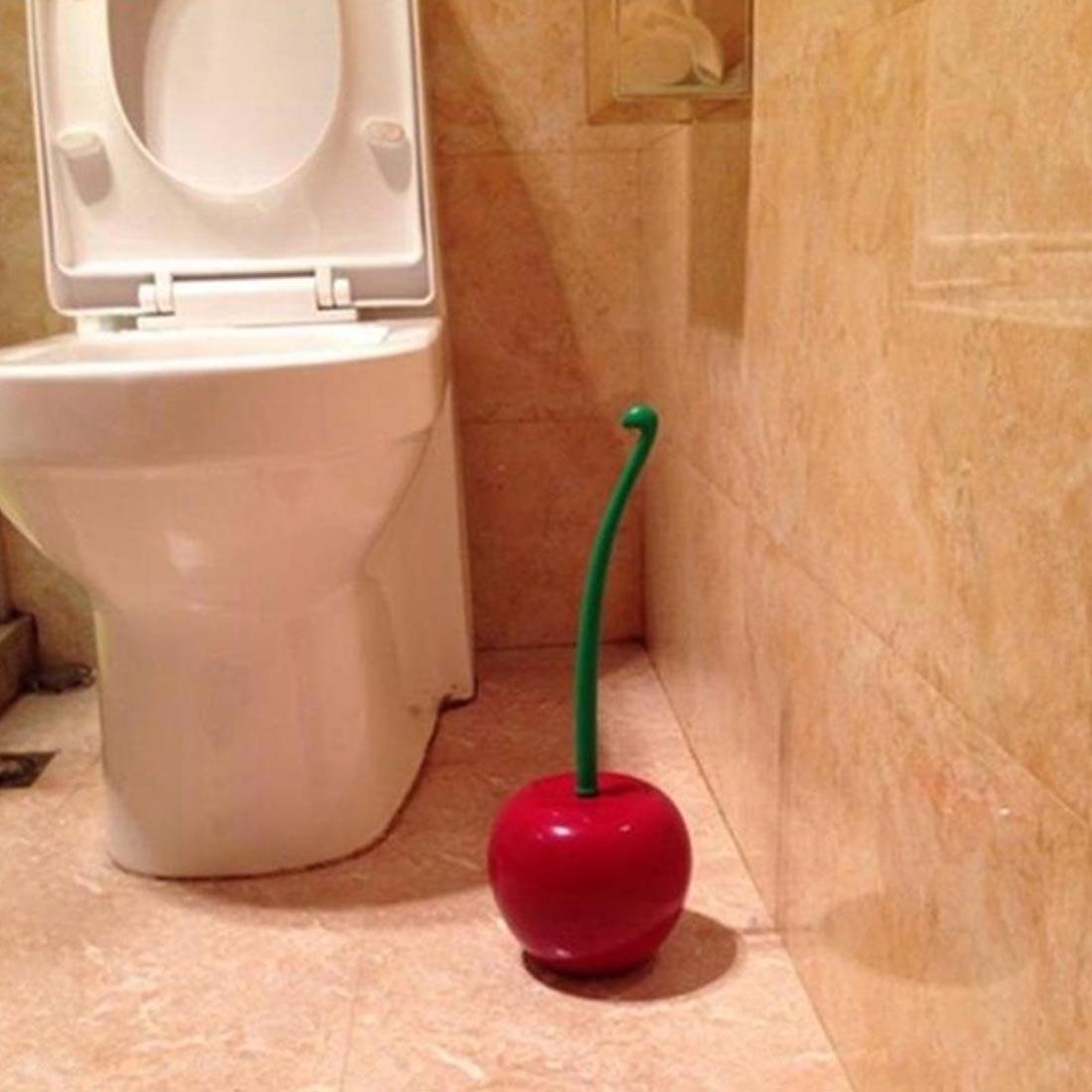 Excellent Bathroom Toilet Brush Creative Lovely Cherry Shape Lavatory Brush Toilet Brush And Holder Set Move Cherry 380x130mm