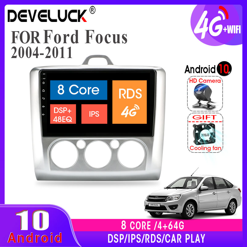 9Android 10.0 Car Radio T3L 2DIN For Ford Focus 2 3 Exi MT AT Mk2/Mk3 2004-2011 GPS Navigation DSP Floating window Split Screen image