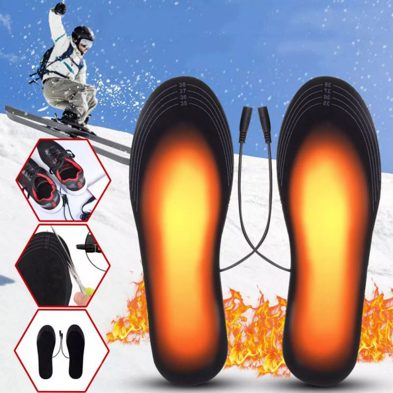 New 1 Pair USB Heated Shoe Insoles Foot Warming Pad Feet Warmer Sock Pad Mat Winter Outdoor Sports Heating Insoles Winter Warm