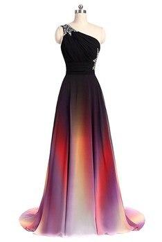 Multi Color A Line Beading One Shoulder Evening Dresses Formal Dresses Floor Length  Lace Up Back