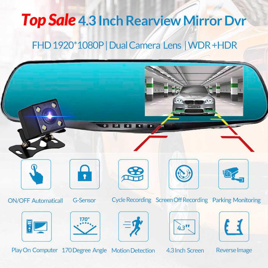4.3 inç dikiz aynası araba dvr'ı kamera Hd 1080P araba ayna Video kaydedici dikiz kamera ile araba ekran ayna çizgi kamera