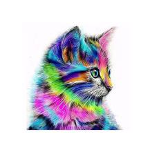 DIY diamentowe malowanie w pełni z okrągłych wierteł kolor kot 5D Daimond malowanie haft Cross Stitch mozaika kryształowa ściana z obrazami Art No tanie tanio Obrazy PAPER BAG Pojedyncze Żywica Pełna Zwierząt Zwinięte 30-45 Nowoczesne