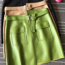 2019 Fall/winter brand new designer real leather A-line skirts Chic women's pockets leather skirt A860 a860 0104 x001 new membrane