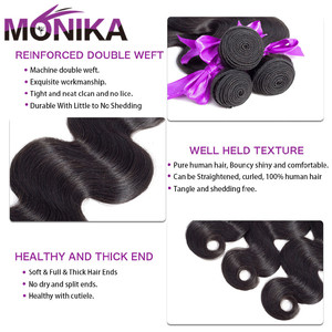 Image 3 - Monika Hair 8 30 inch Brazilian Body Wave Bundles With Frontal Human Hair 3 Bundles with Frontal Non Remy Frontal with Bundles
