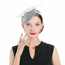 Wedding Hats For Women Elegant Banquet Fedoras Church Hat Fascinator Black White Plaid With Bow Cocktail Tea Party Cap