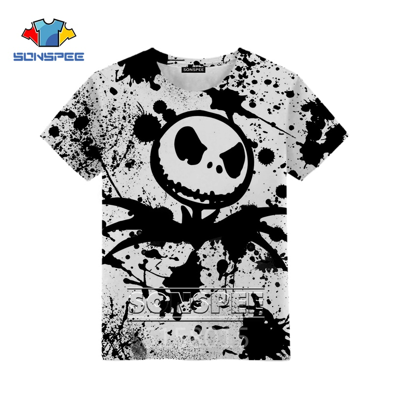SONSPEE The Nightmare Before Christmas Harajuku 3D Print Boys Girls Teens Clothing T Shirt Unisex Short Sleeve Top Pullover XK22